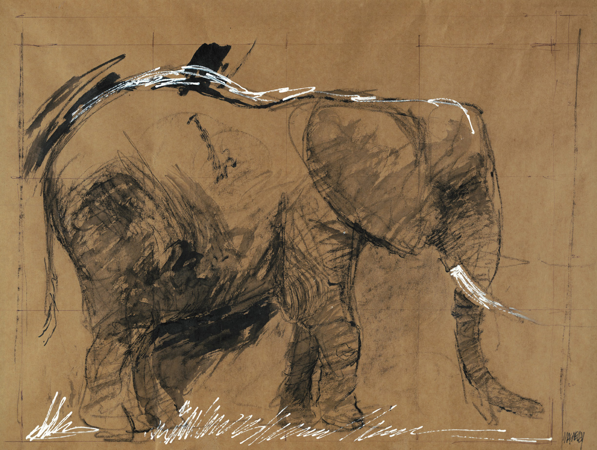 elephant 2 by jeff macnelly political cartoonist shoe fine art